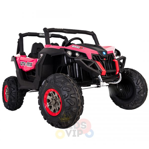 kidsvip 2 seater ride on utv sport 24v rubber wheels toddlers kids pink 5