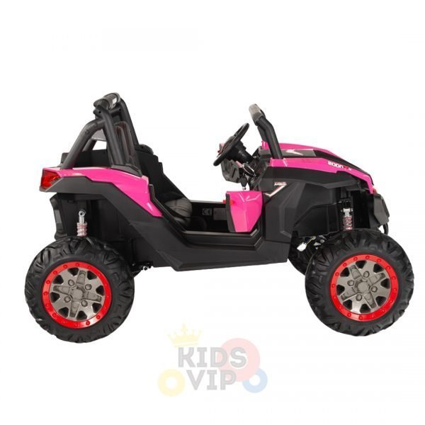 kidsvip 2 seater ride on utv sport 24v rubber wheels toddlers kids pink 7
