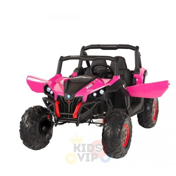 kidsvip 2 seater ride on utv sport 24v rubber wheels toddlers kids pink 8