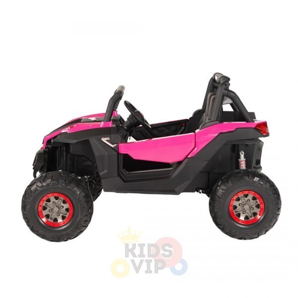 kidsvip 2 seater ride on utv sport 24v rubber wheels toddlers kids pink 9