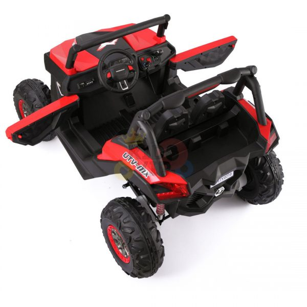 kidsvip 2 seater ride on utv sport 24v rubber wheels toddlers kids red 4