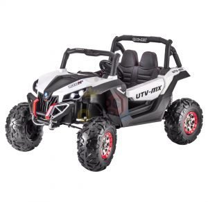 kidsvip 2 seater ride on utv sport 24v rubber wheels toddlers kids white 1