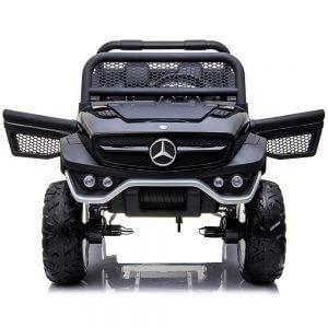 mercedes benz unimog ride on utv for kids dvd leather seat rubber wheels 4 motors kidsvip 3
