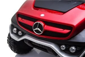 mercedes benz unimog ride on utv for kids leather seat rubber wheels 4 motors kidsvip 4