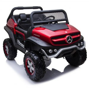 mercedes benz unimog ride on utv for kids leather seat rubber wheels 4 motors kidsvip 48