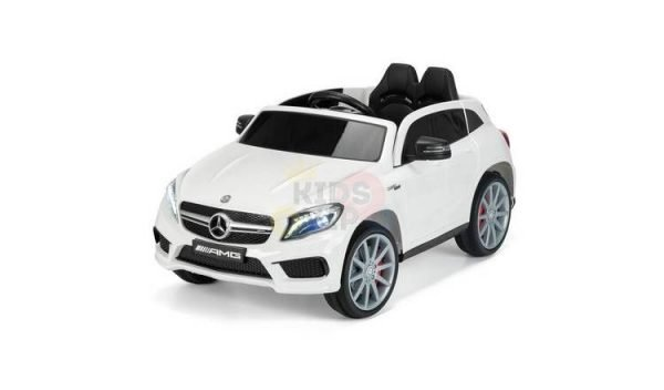 12v Mercedes GLA45 Kids and Toddlers Ride on Car rc leather seat rubber wheels white kidsvip 2.jfif