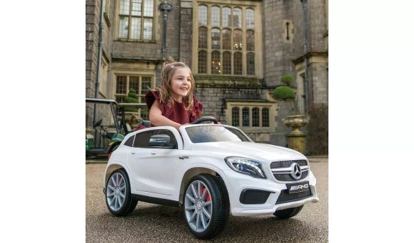 12v Mercedes GLA45 Kids and Toddlers Ride on Car rc leather seat rubber wheels white kidsvip 4
