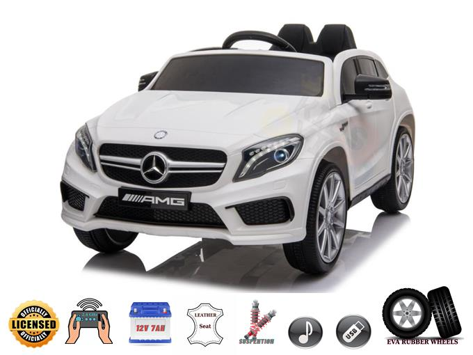 Mercedes Benz GLA 12V Kids and Toddlers Ride On Car, Leather, Rubber Wheels