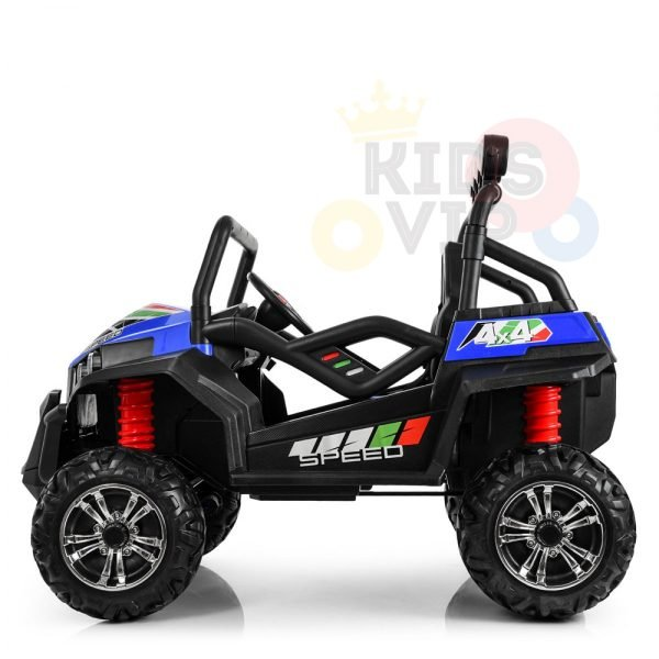 kidsvip 2 seater ride on utv buggy 2x12v rubber wheels toddlers kids blue 3 1