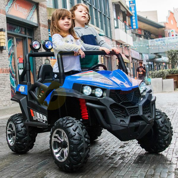 kidsvip 2 seater ride on utv buggy 2x12v rubber wheels toddlers kids blue 7 1