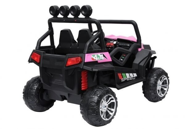 kidsvip 2 seater ride on utv buggy 2x12v rubber wheels toddlers kids pink 12