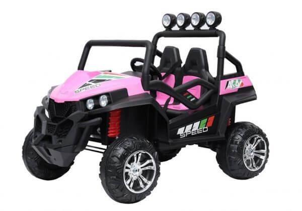 kidsvip 2 seater ride on utv buggy 2x12v rubber wheels toddlers kids pink 15