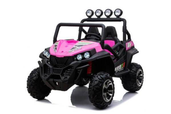 kidsvip 2 seater ride on utv buggy 2x12v rubber wheels toddlers kids pink 5