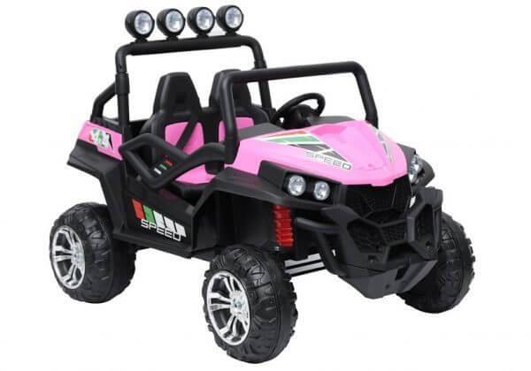 kidsvip 2 seater ride on utv buggy 2x12v rubber wheels toddlers kids pink 9