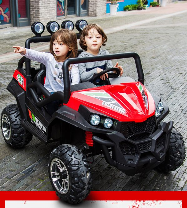 kidsvip 2 seater ride on utv buggy 2x12v rubber wheels toddlers kids red 26