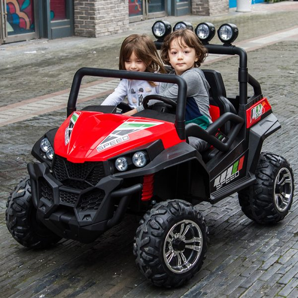 kidsvip 2 seater ride on utv buggy 2x12v rubber wheels toddlers kids red 29