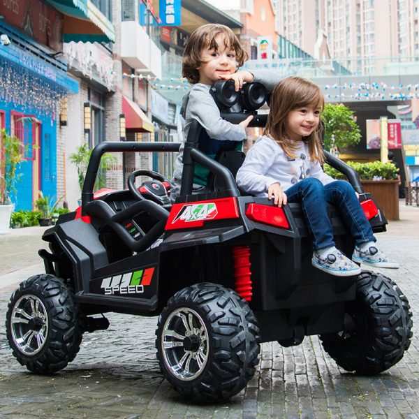 kidsvip 2 seater ride on utv buggy 2x12v rubber wheels toddlers kids red 30