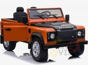 land rover defender kids toddlers ride on car truck rubber wheels leather seat kidsvip orange 2