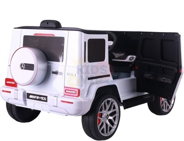 MERCEDES benz amg 306 G63 KIDS TODDLERS RIDE ON CAR 12V RUBBER WHEEL LEaTHeR SEAT KIDSVIP white doors 1