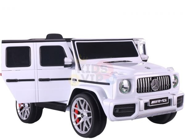 MERCEDES benz amg 306 G63 KIDS TODDLERS RIDE ON CAR 12V RUBBER WHEEL LEaTHeR SEAT KIDSVIP white doors 3