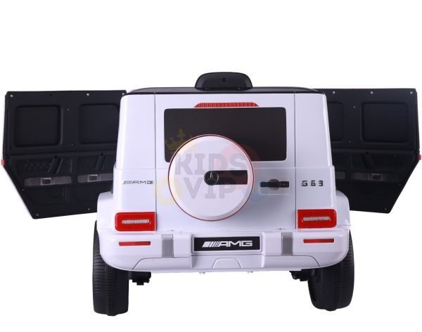 MERCEDES benz amg 306 G63 KIDS TODDLERS RIDE ON CAR 12V RUBBER WHEEL LEaTHeR SEAT KIDSVIP white doors 42
