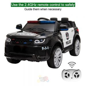 POLICE RIDE ON CAR FOR KIDS AND TODDLERS 12V RUBBER WHEELS KIDSVIP 13