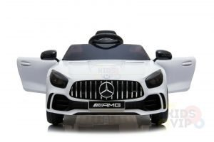 mercedes gt kids ride on car toddlers 12v rubber wheels leather seat white 10 2