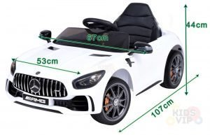 mercedes gt kids ride on car toddlers 12v rubber wheels leather seat white 11 1