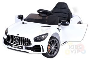 mercedes gt kids ride on car toddlers 12v rubber wheels leather seat white 12 1