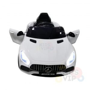 mercedes gt kids ride on car toddlers 12v rubber wheels leather seat white 14 1