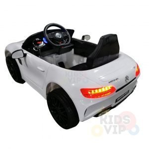 mercedes gt kids ride on car toddlers 12v rubber wheels leather seat white 5 2