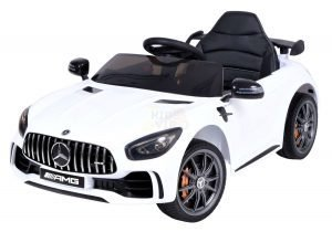 mercedes gt kids ride on car toddlers 12v rubber wheels leather seat white 6 2