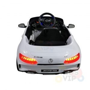 mercedes gt kids ride on car toddlers 12v rubber wheels leather seat white 8 2