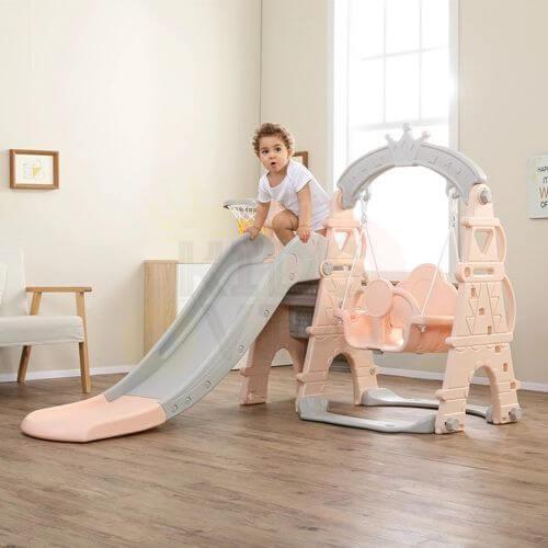 kids toddlers swing slide playset crown kidsvip pink 1