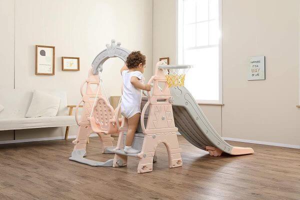 kids toddlers swing slide playset crown kidsvip pink 10