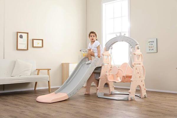 kids toddlers swing slide playset crown kidsvip pink 11