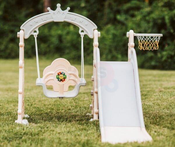 kids toddlers swing slide playset crown kidsvip pink 15