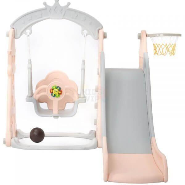 kids toddlers swing slide playset crown kidsvip pink 16