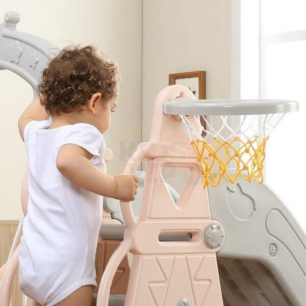 kids toddlers swing slide playset crown kidsvip pink 18