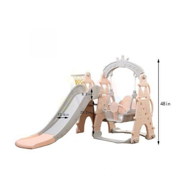 kids toddlers swing slide playset crown kidsvip pink 19