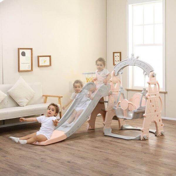 kids toddlers swing slide playset crown kidsvip pink 20 1