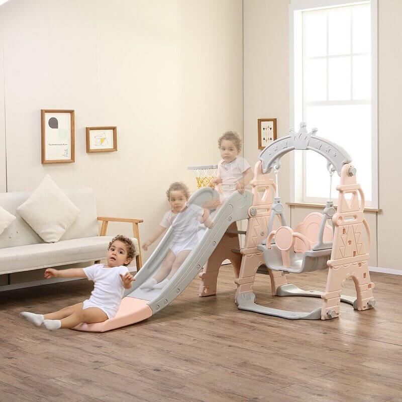 kids toddlers swing slide playset crown kidsvip pink 20