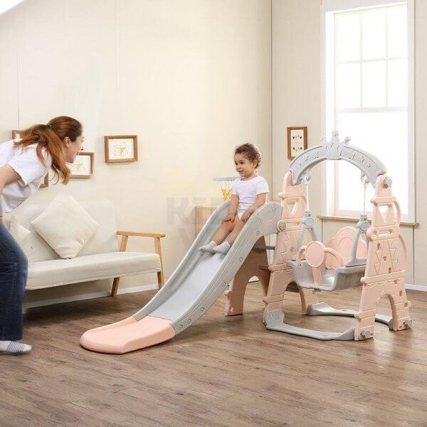 kids toddlers swing slide playset crown kidsvip pink 21