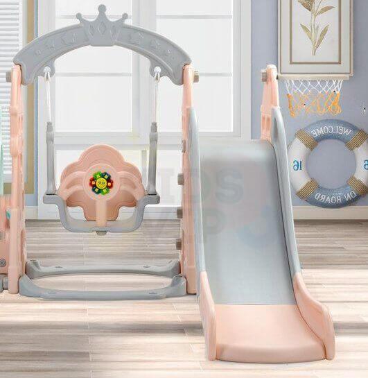 kids toddlers swing slide playset crown kidsvip pink 22