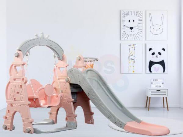 kids toddlers swing slide playset crown kidsvip pink 3