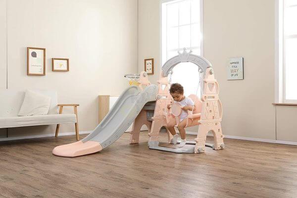 kids toddlers swing slide playset crown kidsvip pink 5