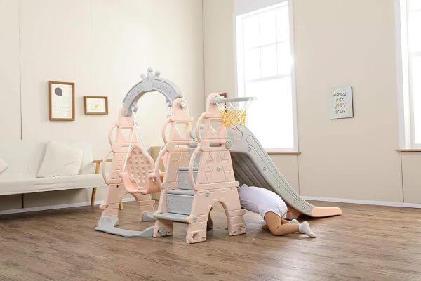 kids toddlers swing slide playset crown kidsvip pink 6
