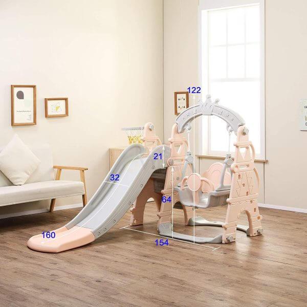 kids toddlers swing slide playset crown kidsvip pink 7