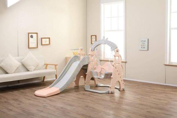 kids toddlers swing slide playset crown kidsvip pink 8