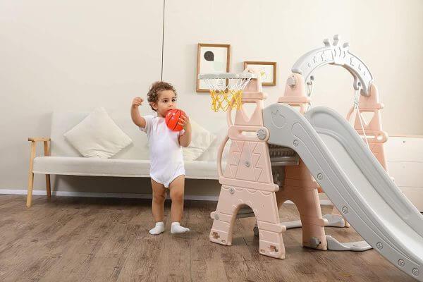 kids toddlers swing slide playset crown kidsvip pink 9